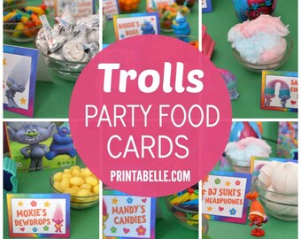 Trolls Inspired Party Food Cards