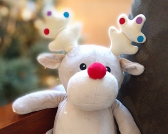 Baby Gift Personalized Reindeer Stuffed Animal - Christmas Birth Announcment, Shower Gift, Embroidered