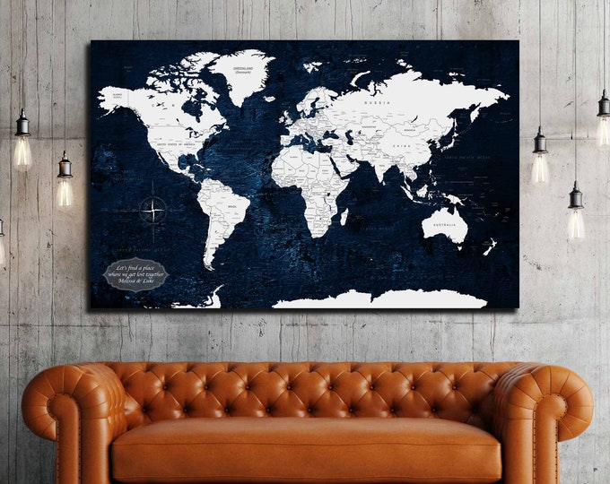 Personalized world map canvas print, Customize your travel map, Anniversary gift idea, push pin map art print, world map canvas art, map art