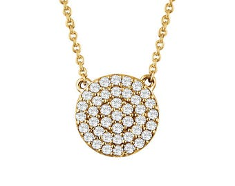 Round Diamond Cluster Necklace - VS1 or SI Diamonds. 14k, 18k Yellow, Rose, White Gold & Platinum. Fine Jewelry. Made to Order in NYC