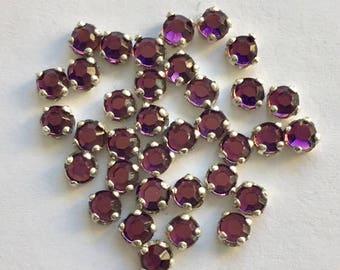 Vintage Glass Rose Montee - 3.25mm Purple