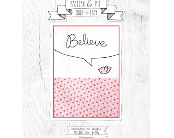 NEW Quilt Pattern - Comes with Fusible Bias Tape. Cursive Quilt - Believe Quilt Pattern.  Baby Quilt Pattern.  Pattern and Kit.  I