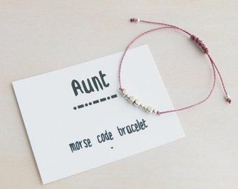 Morse code bracelet, aunt morse code, morse code aunt, gift for aunt, aunt gift, aunt birthday, aunt bracelet, morse code jewelry