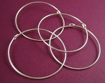 25mm Sterling Silver Beading Hoops 4 pcs
