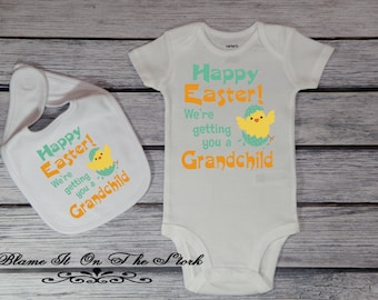 Grandchild easter etsy new grandchild announcement bodysuit new grandparents easter gift baby reveal baby bodysuit baby negle Image collections