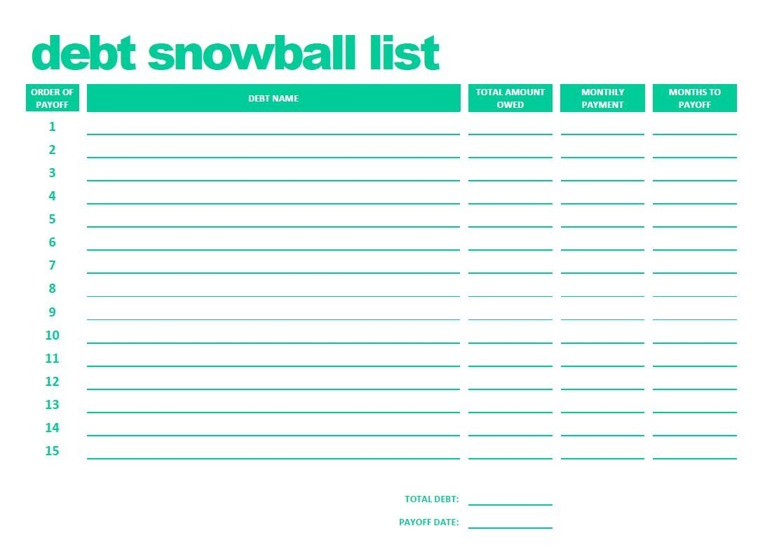 PRINTABLE Debt Snowball List .PDF