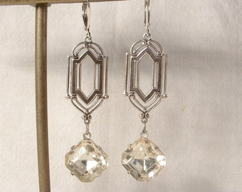 Vintage Art Deco Rhinestone Dangle Earrings, Long Square Clear Crystal Antique Silver Bridal Drops, Flapper Gatsby Bridesmaid 1920s Jewelry