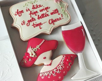 Age is like wine  - Fun Birthday Cookie Gift Box Gift for Her - Fun Birthday Gift