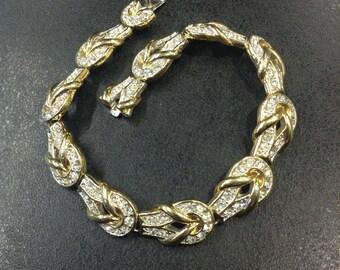 Rhinestone bracelet , gold plated