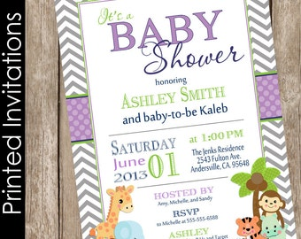 Printed Safari Baby Shower Invitation, safari, chevron, purple, green, jungle, typography (FREE ENVELOPES)