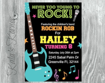 Rock and Roll Birthday Invitation - Rock and Roll Birthday Invite - Rock N Roll Birthday - JPEG File - Music Birthday - Birthay Party
