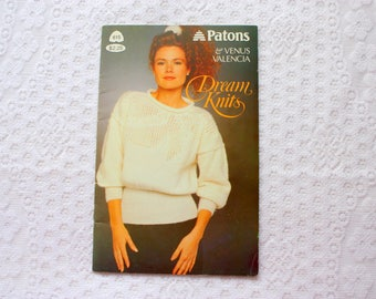 Patons 615, Dream Knits, Knitting Patterns for 6 Ladies Sweaters, 1980's Fashion