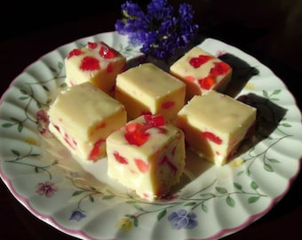 Cherry Bakewell Fudge, Cherry Fudge, Cherry Almond Fudge, Homemade Fudge, Fudge Candy, Confectionery, Sweet gift, Handmade Fudge