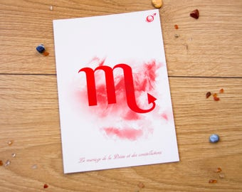 Postcard double Scorpio / / Zodiac and poetry / / french poem astrological / / modern style / / double Scorpion postcard