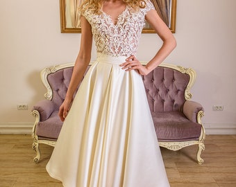 Nicia 2 pieces wedding dress short skirt with lace top