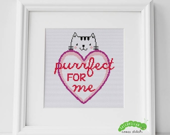 Purrfect For Me Cat Valentine's Cross Stitch PDF Pattern Digital Download