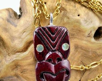 Hand Carved Vintage Wood Mask Necklace from New Zealand - 211V