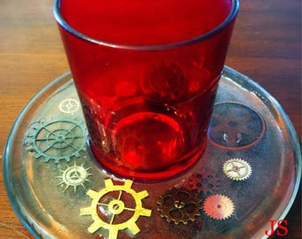 Red and Clear Steampunk Glass and Gears Candle Holder