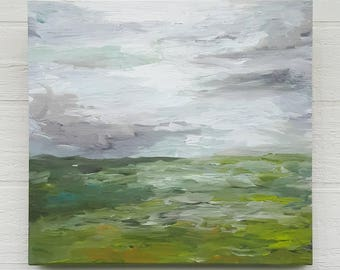Breathe Original Acrylic Impressionism Painting on Found Wood Panel
