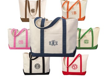Bridal Party Gifts - Monogrammed Tote Bag - Personalized Tote Bag  in 7 colors