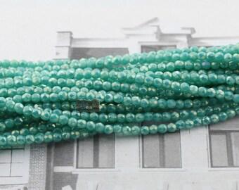 50pcs 2mm FirePolish round Czech glass bead - LUSTER IRIS Turquoise - 2mm fire polish beads