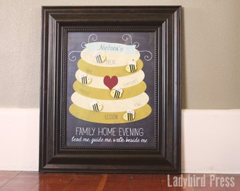 Family Home Evening Chart - LDS gift - LDS Christmas Gift - Printable - 11x14 - Bee