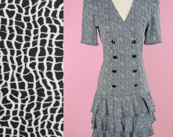 All That Jazz, Vintage Dress // 80s Prom, 90s, Black, White, 1990s, Party Dress, Women Size Small