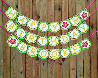 Luau Birthday Banner - hawaiian - party supplies -