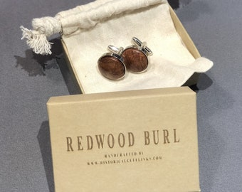 Redwood Burl Timber / Wood Chromed Cufflinks