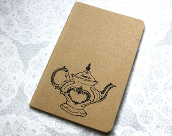 Vintage Teapot notebook | notepad | gifts for her | Moleskine | tea print | Journal | Lined pages | Lino print | Handmade | Pocket size |