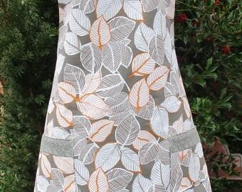 REVERSIBLE APRON, gray orange white, fresh spring leaf print! soft paisley grey, VINTAGE style, Boho retro kitchen smock pinnie, 100% cotton
