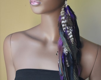 Extra Long Single Feather Earring, Purple Black  Grizzly Feathers, Bohemian Jewelry, Feather Jewelry