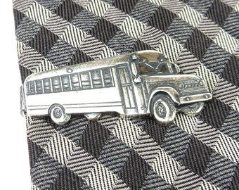 School Bus Tie Bar- School Bus Tie Clip- School Bus Tie Pin- Sterling Silver Or Antiqued Brass Finish