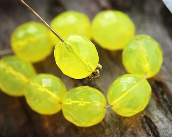 10mm Opal Yellow round beads fire polished czech glass faceted beads - 10Pc - 1790