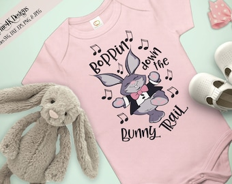 "SVG Digital Design ""Boppin down the Bunny Trail"" Instant Download- Includes svg, png, jpeg, dxf, & eps formats."
