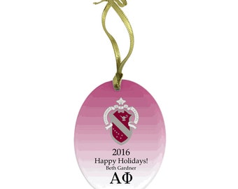 Alpha Phi Holiday Color Crest Glass Ornament