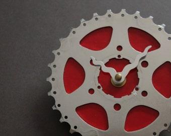 Bicycle Gear Clock - Bright Red | Bike Clock | Wall Clock | Recycled Bike Parts Clock