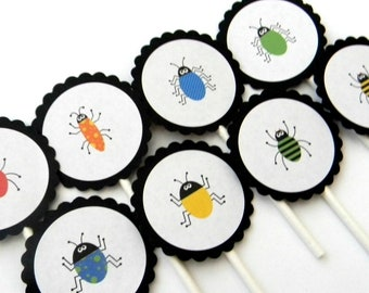 12 Bug Cupcake Toppers, Dirt and Bugs Party, Crawling Bugs, First Birthday, Boy Birthday, Bug Theme, Garden Party, Crawling Bugs, Shower
