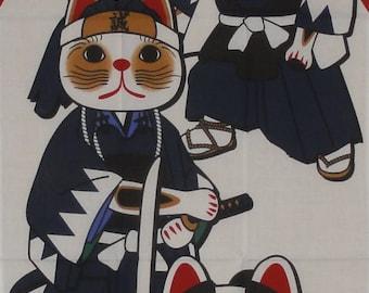 Kawaii Fabric Maneki Neko Samurai Motif Japanese Tenugui Cat Fabric w/Free Insured Shipping
