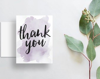 Watercolor Splash Thank You Cards / Lavender Purple Watercolor / Brush Hand Lettering / Thank You Notes / Printed Folded Thank You Cards