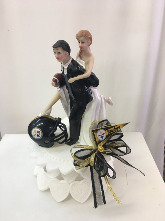 Steelers inspired wedding cake topper funny wedding cake