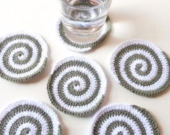 6 coasters of crocheted fabrics in esperial