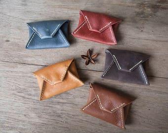 Leather card holder, leather card case, business card holder, name card case, enveloped shaped card holder, gift for him, gift for her