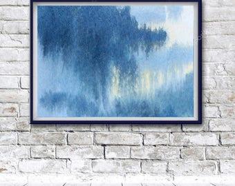 Original Watercolor painting, Indigo Poster, Abstract Print, Printable abstract decor, Abstract Wall Art, Blue Decor, Printable Abstract Art
