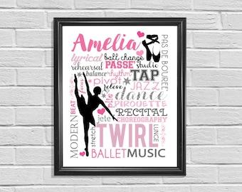 Printable Dance Poster, Cheer Print, Subway Art, Digital Wall Print, Ballet Sign