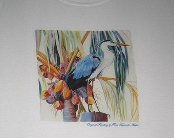 Blue Heron and Florida Coconut Palm Tree