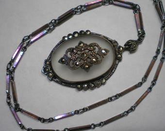 Vintage Sterling Silver Camphor Glass Marcasite Pendant Necklace 19 Inches