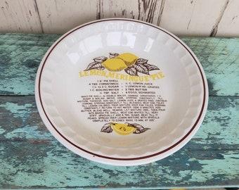 Vintage Pie Plate Great For Lemon Meringue Pies - Retro Pottery Pie Dish, Pie Recipe, Housewarming + Wedding Gift, Pottery Cook or Bake Ware