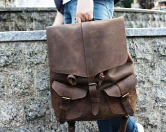 SALE - 20% Vintage Leather Backpack, Backpack men, school Backpack, Leather backpack women, laptop backpack,  leather rucksack