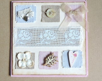 customizable card made, shabby lace, heart button. Mother's day, birthday